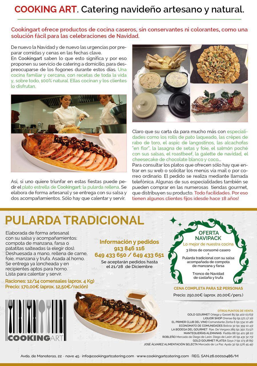 Publireportaje de COOKINGART Catering sobre la pularda tradicional de Navidad y el catering navideño.