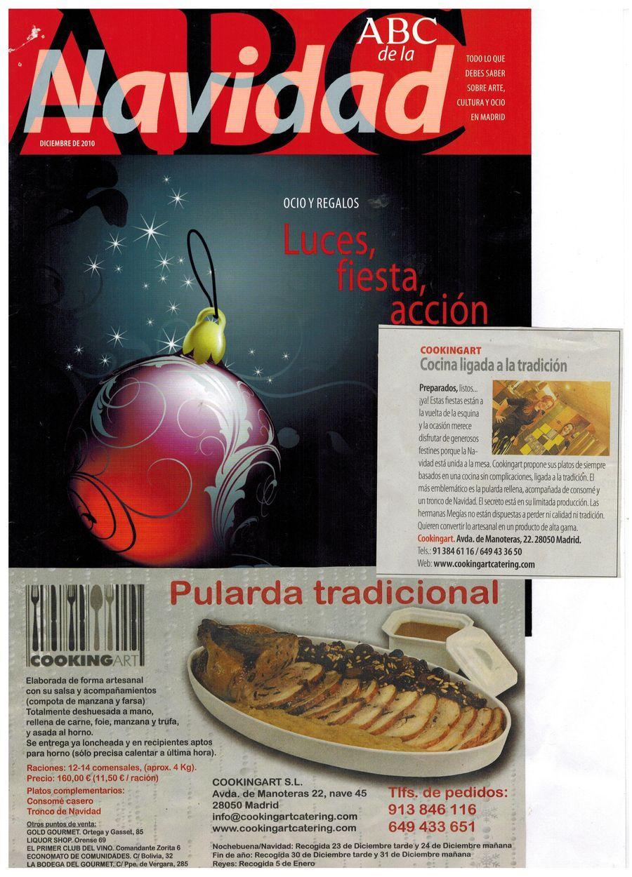Revista suplemento ABC Navidad. Apariciones en prensa de COOKINGART Catering.
