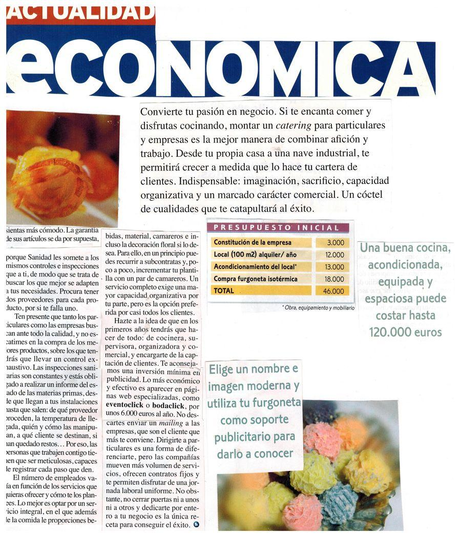 Revista Actualidad Económica. Apariciones en prensa de COOKINGART Catering.