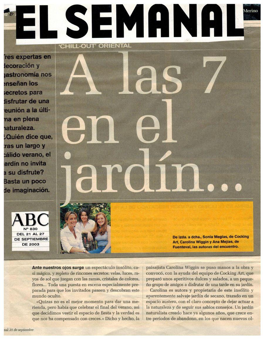 Revista El Semanal. Apariciones en prensa de COOKINGART Catering.