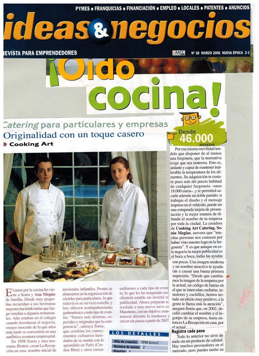 Revista Ideas y Negocios. Apariciones en prensa de COOKINGART Catering.