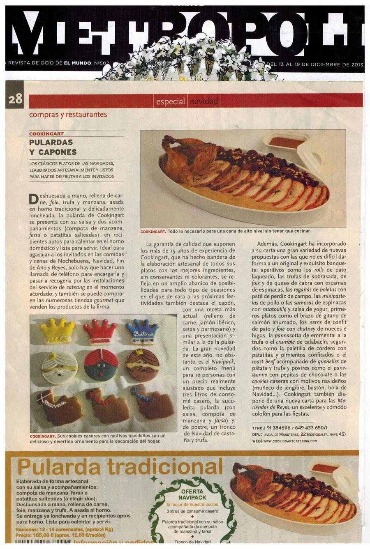 Revista Metropoli. Apariciones en prensa de COOKINGART Catering.