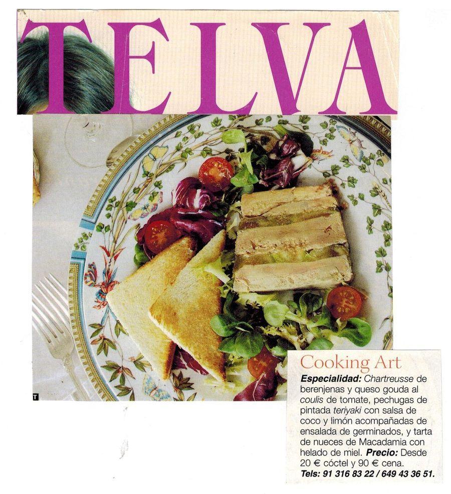 Revista TELVA. Apariciones en prensa de COOKINGART Catering.